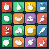 Fruits flat web icons Royalty Free Stock Images