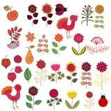 Fruits, fleurs et oiseaux réglés Images stock