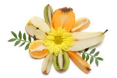 Fruits and flower composition Royalty Free Stock Photos