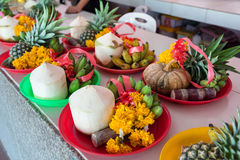 Fruits and flower at the sacrifice ceremony Ganesh god in temple. Nakhon Nayok, Thailand Stock Photography