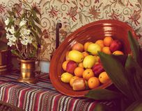 Fruits and flowers in a andalusian still life royalty free stock images