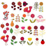 Fruits, flowers and birds set Stock Images