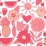 Fruits and flowers endless texture Royalty Free Stock Photo