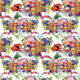 Fruits and flowers, watercolor seamless  pattern. Royalty Free Stock Image