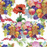 Fruits and flowers, watercolor seamless  pattern. Royalty Free Stock Images