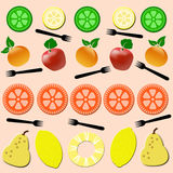 Fruits and Forks Seamless Pattern Royalty Free Stock Images