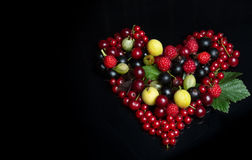 Fruits in the form of a heart symbol Royalty Free Stock Photography