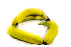 Green and yellow banana`s in class. Fruits of four different banana cultivars Stock Photography