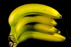 A stack of yellow and green ripe banana`s. Fruits of four different banana cultivars Royalty Free Stock Photo