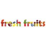 Fruits frais à l'intérieur de texte de mot Photographie stock libre de droits