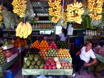 Fruits frais assortis dans un support de fruit dans une tache de touristes dans la ville de Tagaytay, Philippines images libres de droits