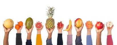 Fruits frais dans des mains d'isolement sur le fond blanc image libre de droits