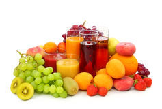 Fruits frais et jus Photo stock
