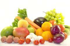 Fruits frais et légumes lumineux Photo libre de droits