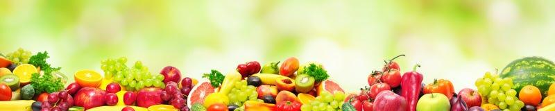 Fruits frais et légumes panoramiques de collection pour le skinali dessus Image libre de droits