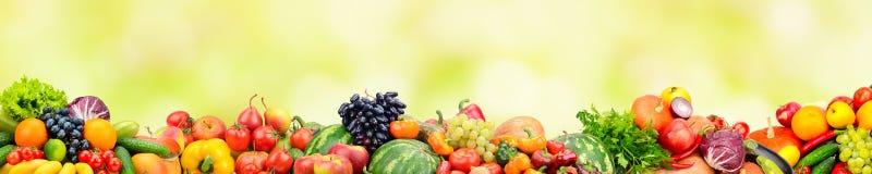 Fruits frais et légumes panoramiques de collection sur le backg jaune Photos libres de droits