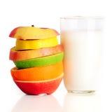 Fruits frais et lait Photographie stock libre de droits