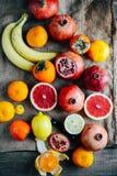 Fruits frais Fond mélangé de fruits Consommation saine, suivant un régime Images libres de droits