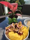 Fruits frais pour le petit déjeuner à la villa de Frangipani sur Koh Tao Image stock