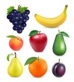 Fruits frais réglés image réaliste du vecteur 3d Photo stock