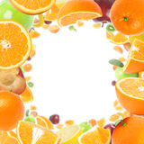 Fruits frame. Frame made with juicy fruits with copy space stock photo