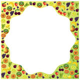Fruits frame made with different fruits, healthy food theme comp Royalty Free Stock Photo