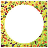 Fruits frame made with different fruits, healthy food theme comp Stock Image