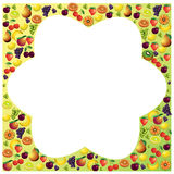 Fruits frame made with different fruits, healthy food theme comp Royalty Free Stock Images