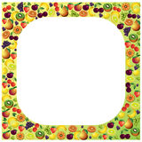 Fruits frame made with different fruits, healthy food theme comp Stock Photos