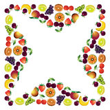 Fruits frame made with different fruits, healthy food theme comp Stock Images