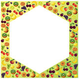 Fruits frame made with different fruits, healthy food Stock Photos