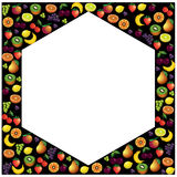 Fruits frame made with different fruits over dark background, he Royalty Free Stock Images