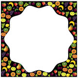 Fruits frame made with different fruits over dark background, he Royalty Free Stock Photography