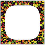 Fruits frame made with different fruits over dark background, ve Royalty Free Stock Image