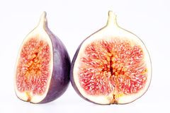 Fruits of fresh figs isolated on white background Stock Photos