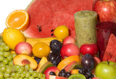 Fruits with fresh juice Royalty Free Stock Photography