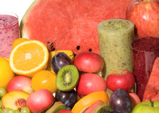 Fruits with fresh juice Royalty Free Stock Photos