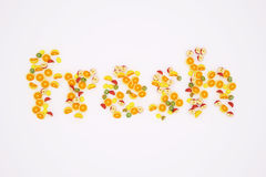 Fruits, fresh, juice. Illustrations depicting words and fruits Royalty Free Stock Image