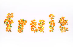 Fruits, fresh, juice. Illustrations depicting words and fruits Royalty Free Stock Images
