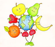 Fruits friends. Happy fruits friends around the world, holding hands. Hand drawn illustration made with colour pencils Stock Photos