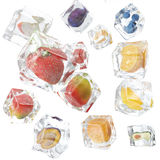 Fruits frozen in ice cube, ice cube in front view, single ice cube isolated on white background. 3d rendering. Fruits frozen in ice cube, ice cube in front view Royalty Free Stock Photos