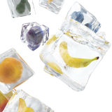 Fruits frozen in ice cube, ice cube in front view, single ice cube isolated on white background. 3d rendering. Fruits frozen in ice cube, ice cube in front view Stock Photography