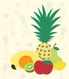 Fruits on fruit background. Vector illustration of fruits on fruit background Royalty Free Stock Photos