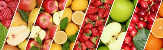 Fruits fruit food collection background banner orange apple apples lemon. Berries cherries stock photography