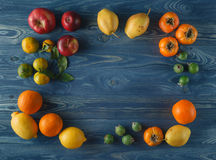 Fruits, Fruit salad - diet, healthy breakfast, frame with space Royalty Free Stock Image