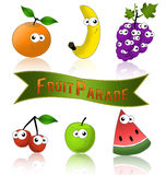 Fruits funny and healthy. Healthy fruit parade label with funny cartoon fruits Royalty Free Stock Images