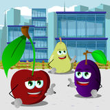 Fruits gesturing a call me sign in the city Royalty Free Stock Photo