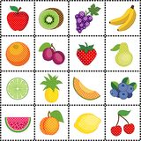 Fruits, Gingham Frame. 16 fresh fruits, polka dot design, black and white gingham check frame: apple, kiwi, grapes, bananas, orange, plums, strawberry, pear Stock Image