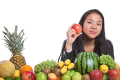 Fruits and girl Royalty Free Stock Photo