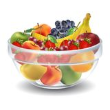 Fruits in glass bowl Royalty Free Stock Images